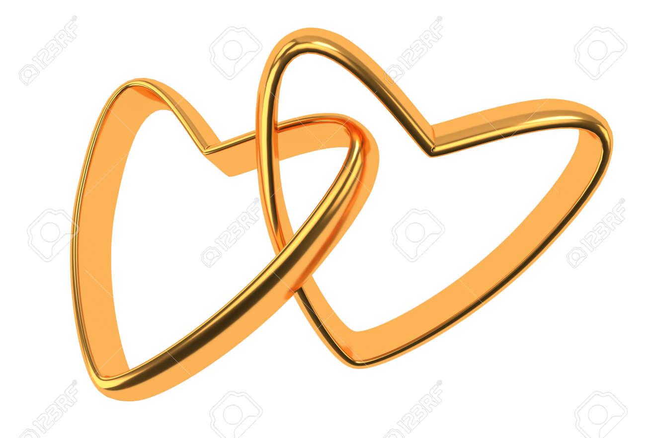 Zwei Miteinander Verbundene Gold Hochzeit Herzen Auf Weißem ...