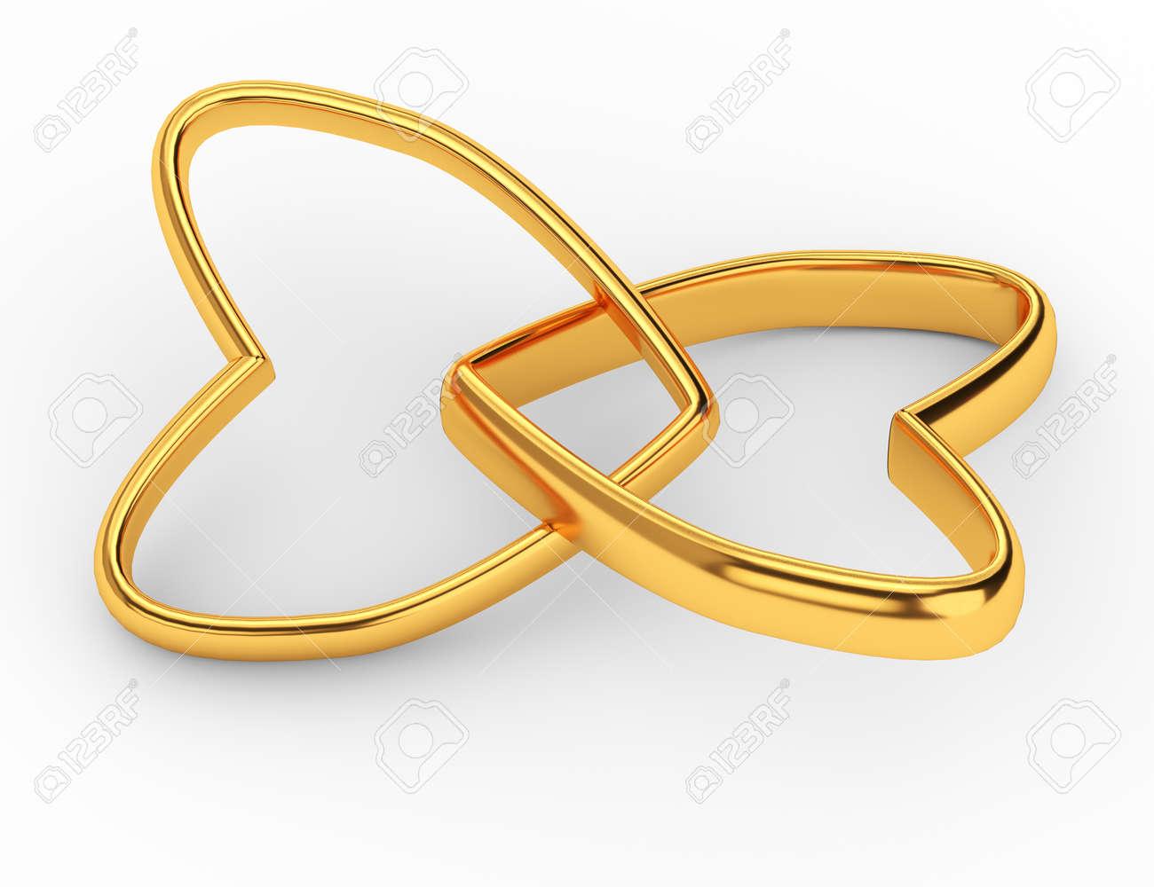 Zwei Miteinander Verbundene Gold Hochzeit Herzen Auf Weissem