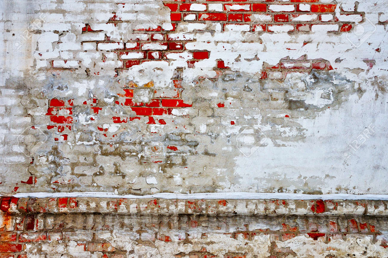 Ancient red bricks white stucco damaged wall background Stock Photo - 13229910