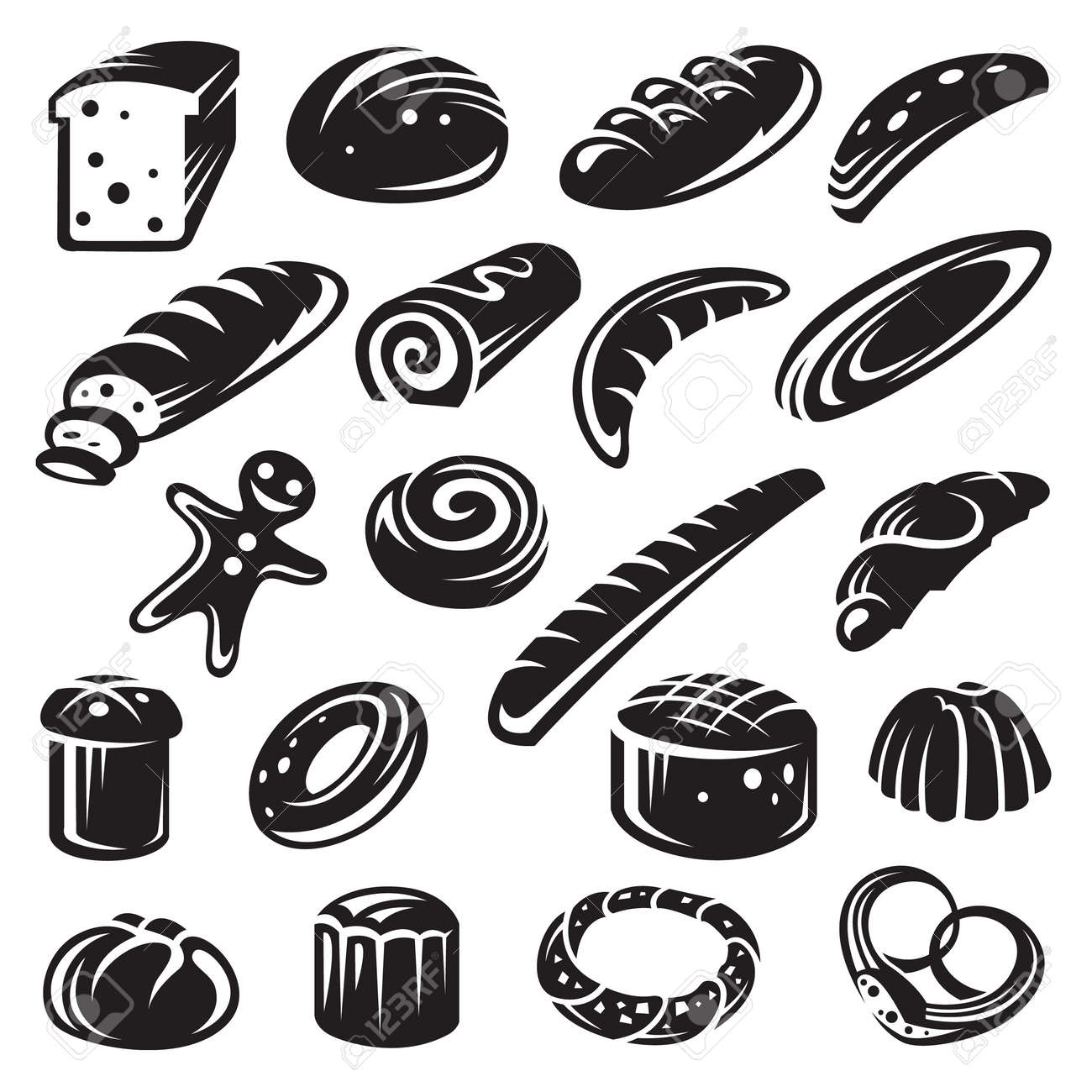 set of twenty monochrome bakery Stock Vector - 11650379