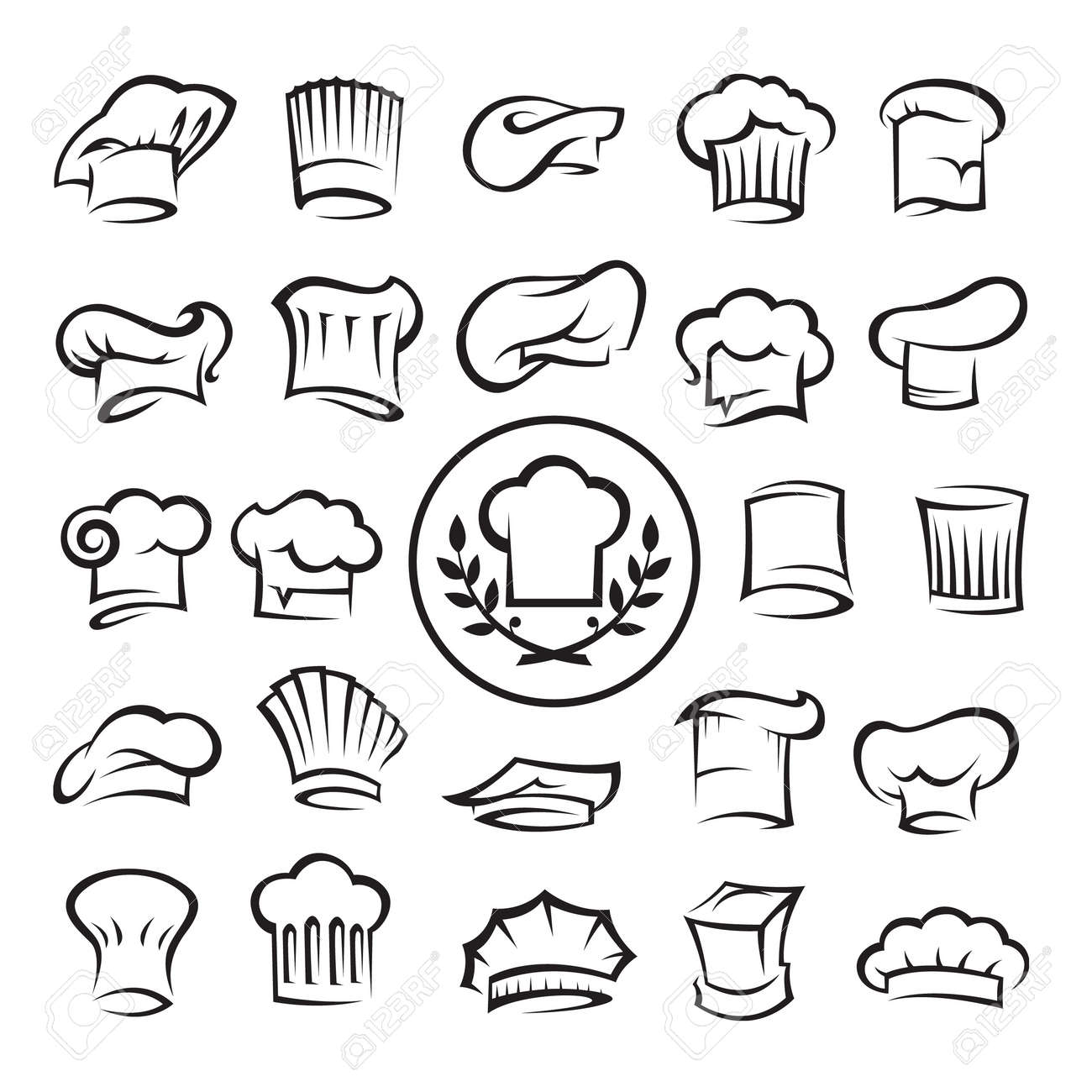 set of chef hats Stock Vector - 11650216