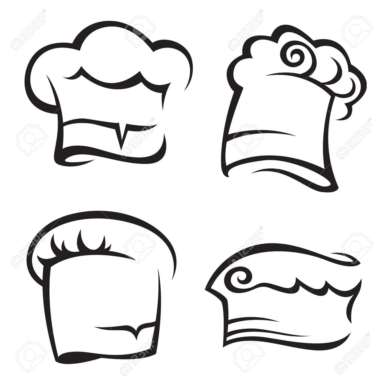 set of chef hats royalty free cliparts vectors and stock