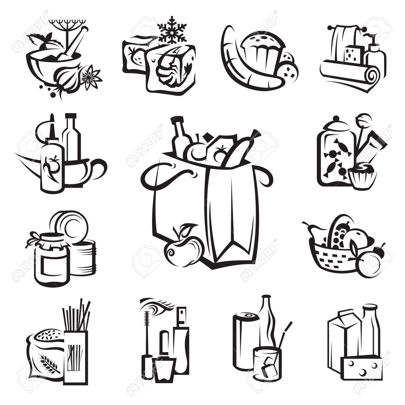 set of food and goods icons Stock Vector - 11650075