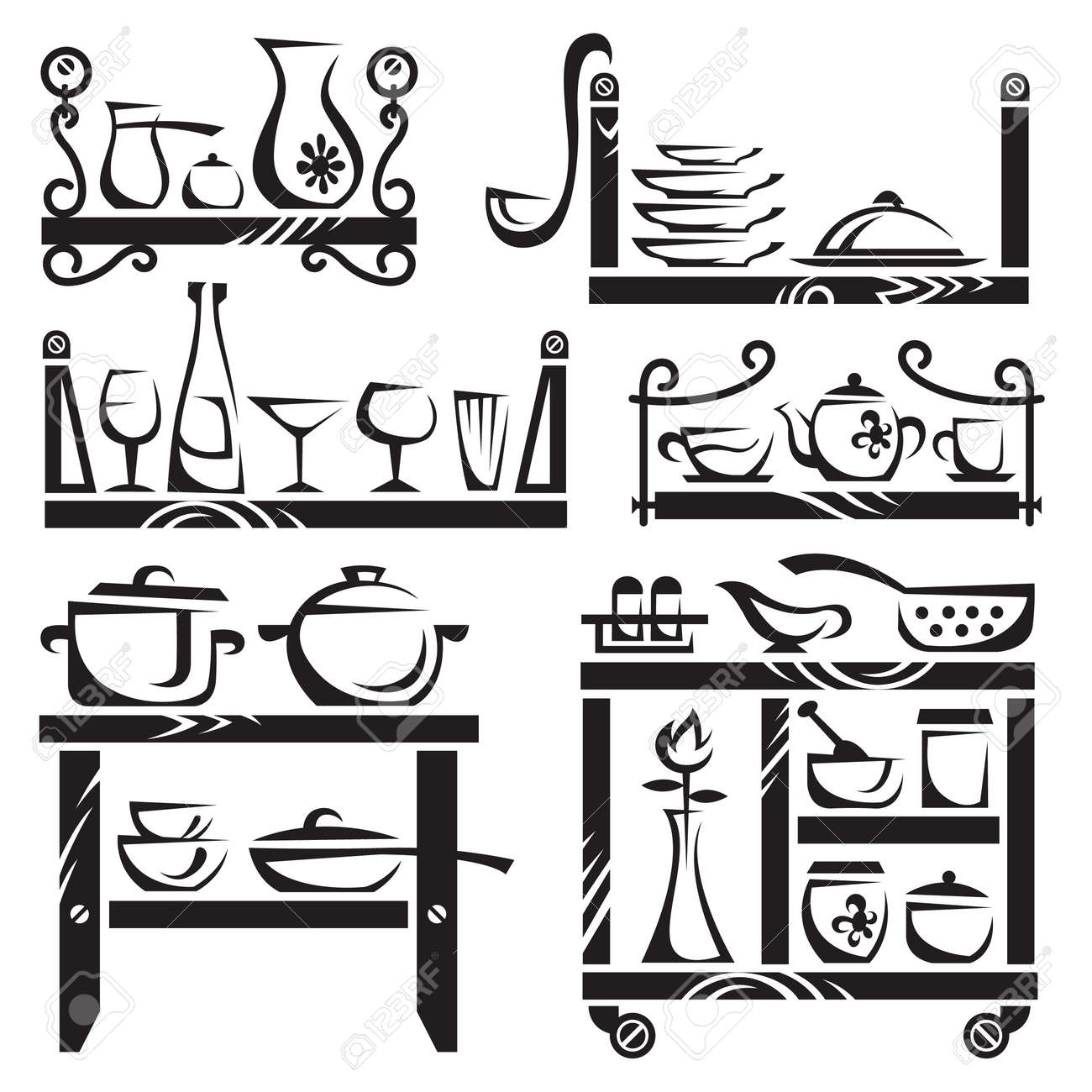 kitchen utensils on shelves Stock Vector - 11650115