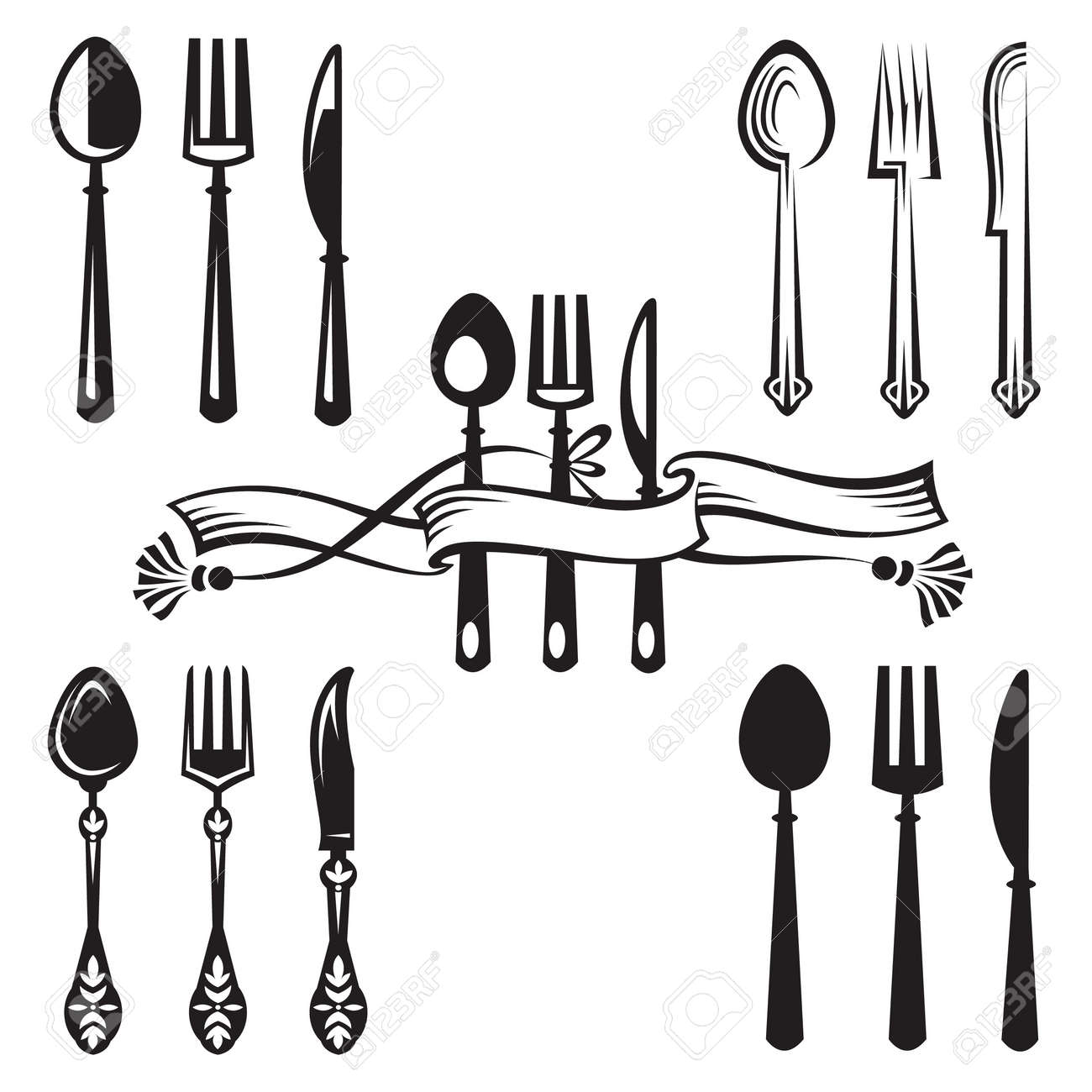 knife, fork and spoon Stock Vector - 11650110