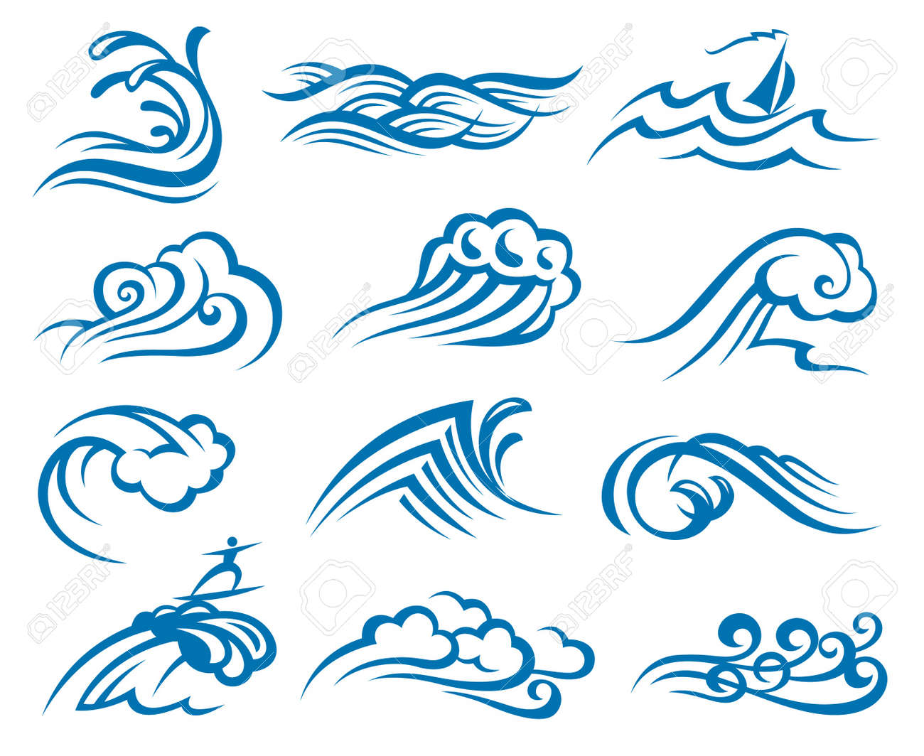 set of waves Stock Vector - 11649085