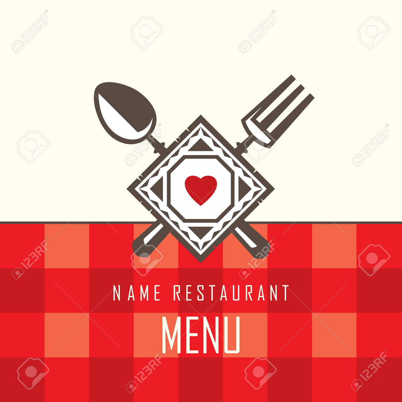 restaurant menu design with spoon and fork Stock Vector - 13331369