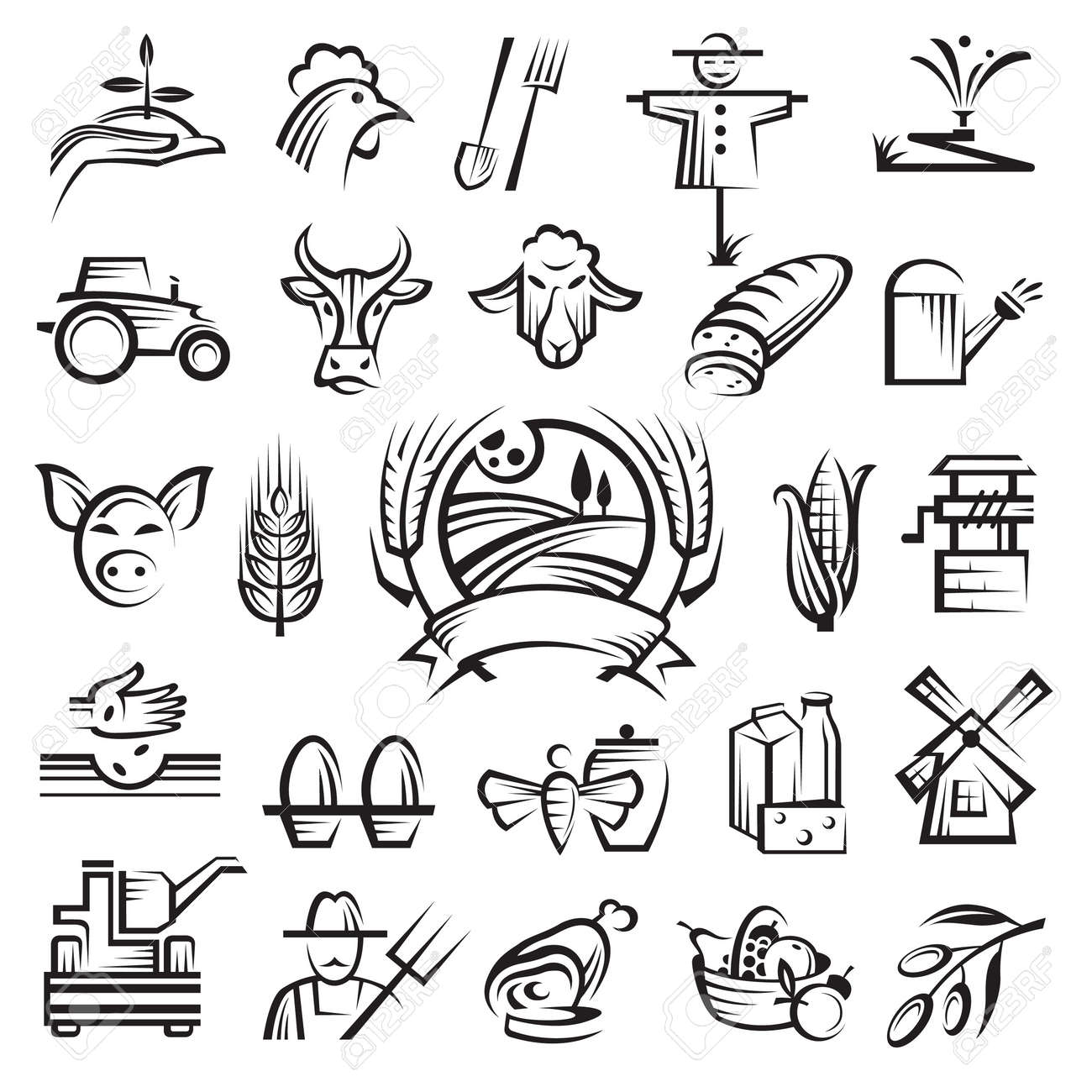 a set of twenty-five agriculture and farming icons Stock Vector - 13453670