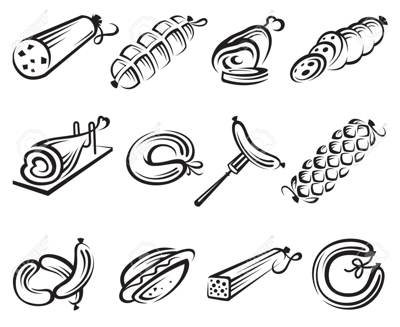 meat and sausages icon set - 13785819