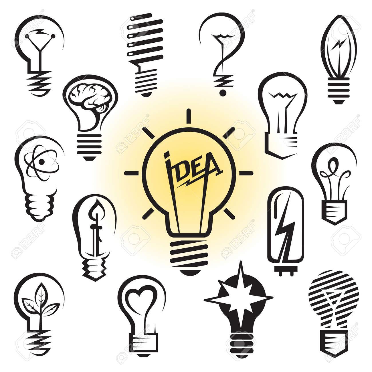 icons set of light bulbs Stock Vector - 15167712