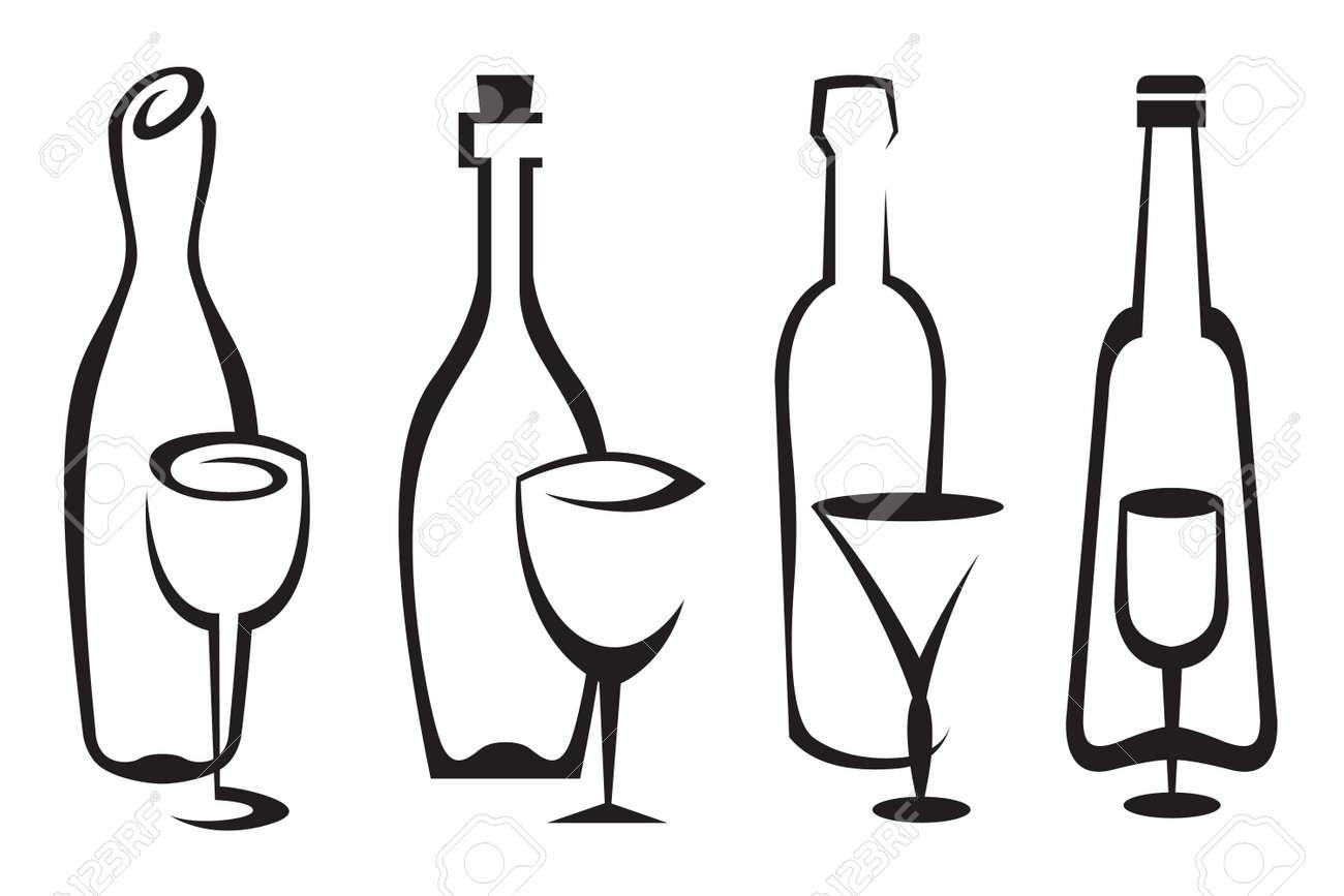 bottles and glasses set Stock Vector - 16752968