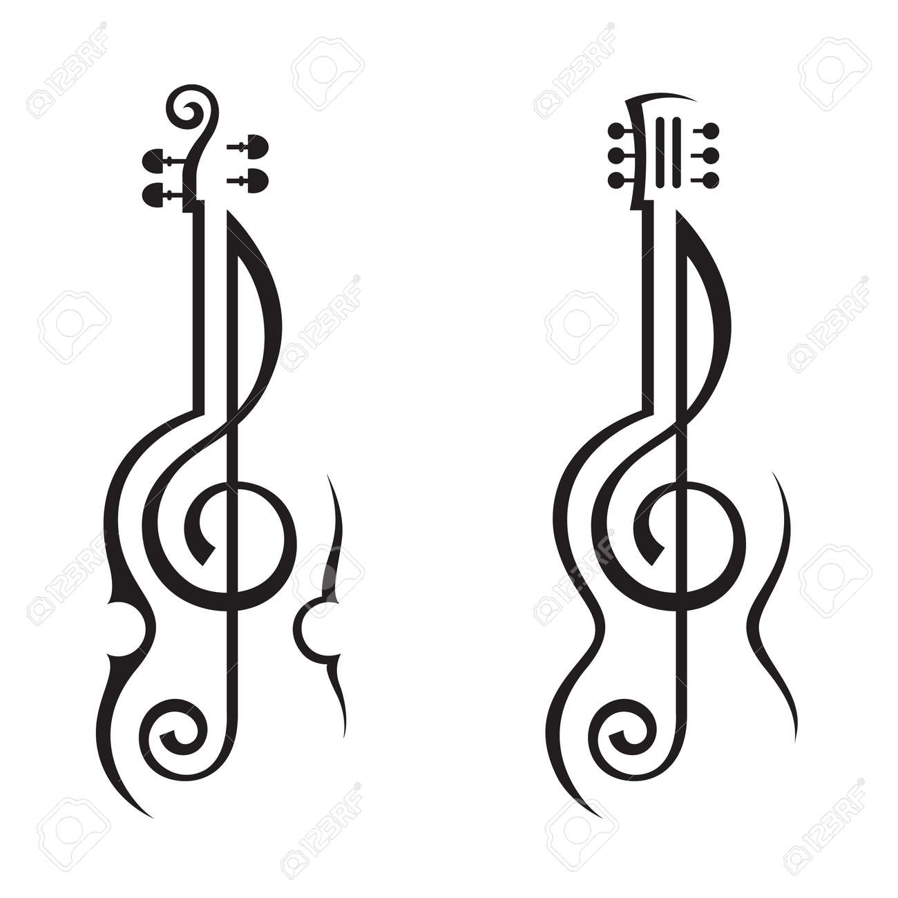 Violin, Guitar And Treble Clef Royalty Free Cliparts, Vectors, And ...