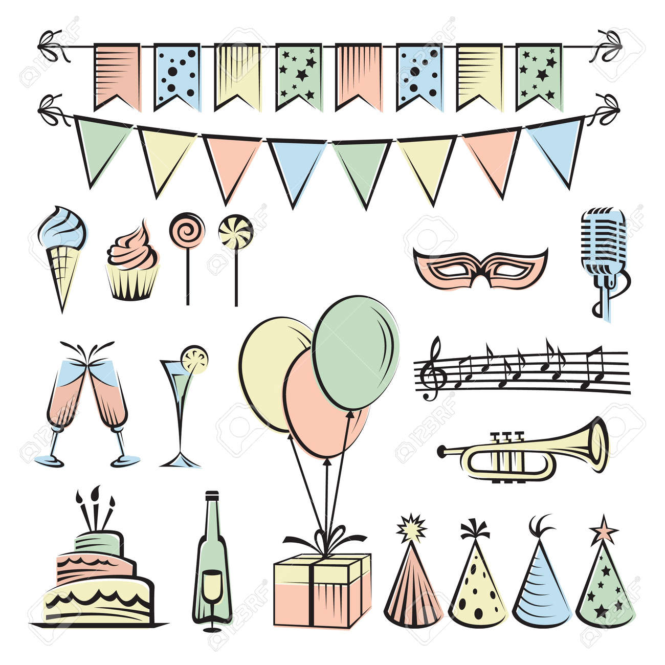 party and celebration icon collection Stock Vector - 18563516