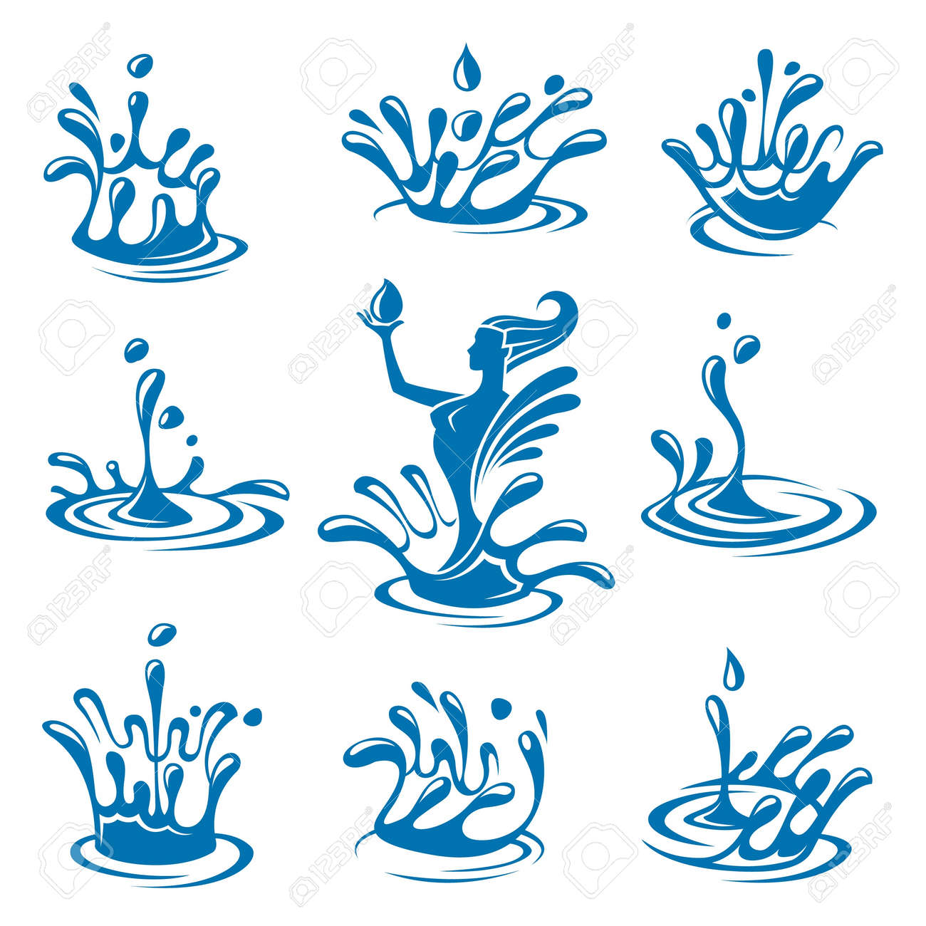 set of abstract waters icons Stock Vector - 18722971