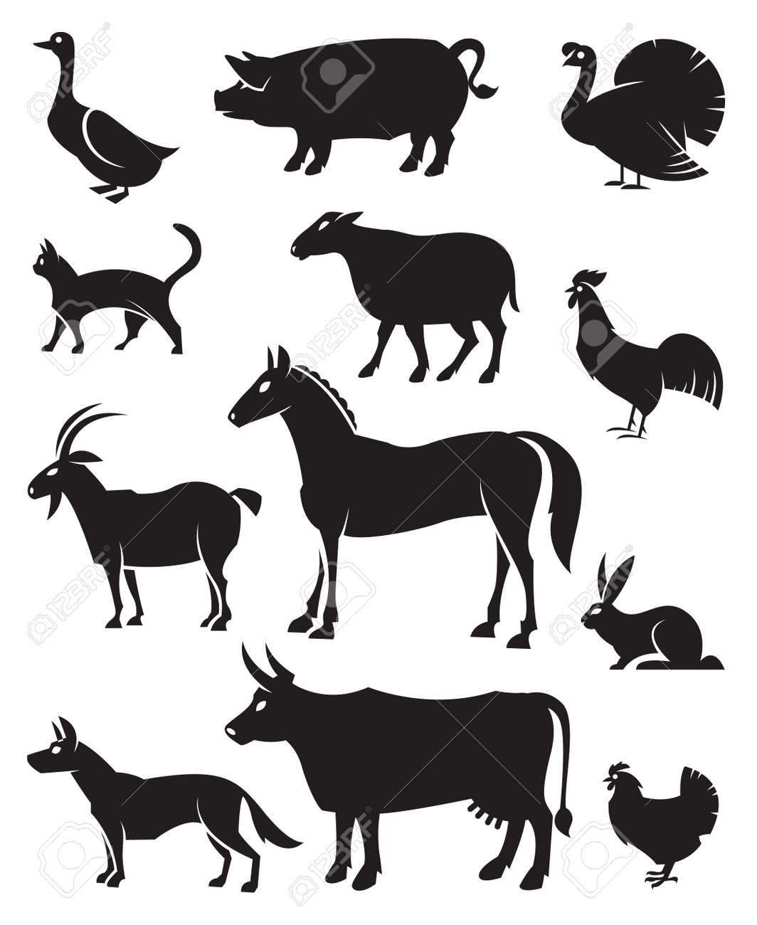 12 の農場の動物のモノクロ イラスト ロイヤリティフリークリップアート
