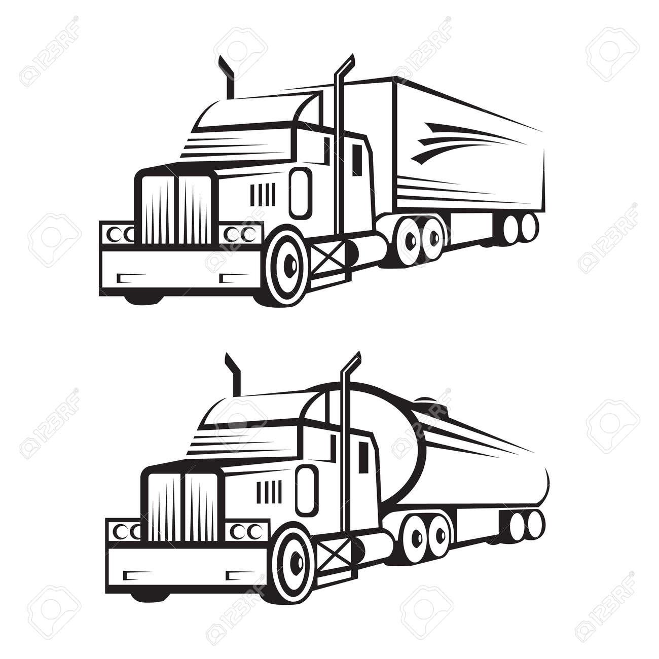 Conjunto Monocromático De Un Camión Con Remolque Y Camión Cisterna ...