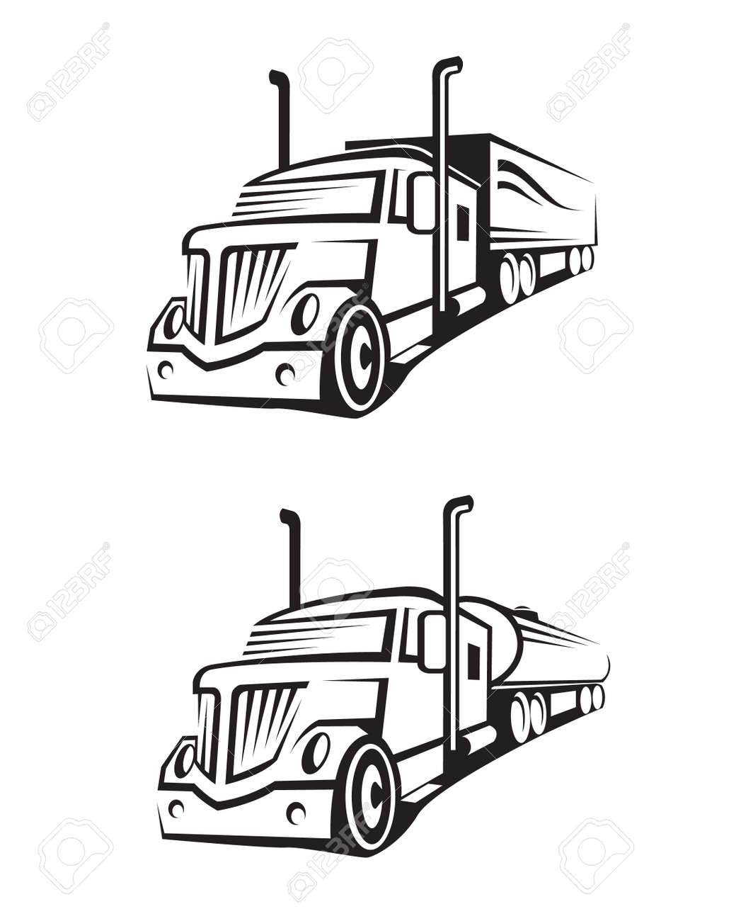 monochrome set of a truck with trailer and tank truck royalty free
