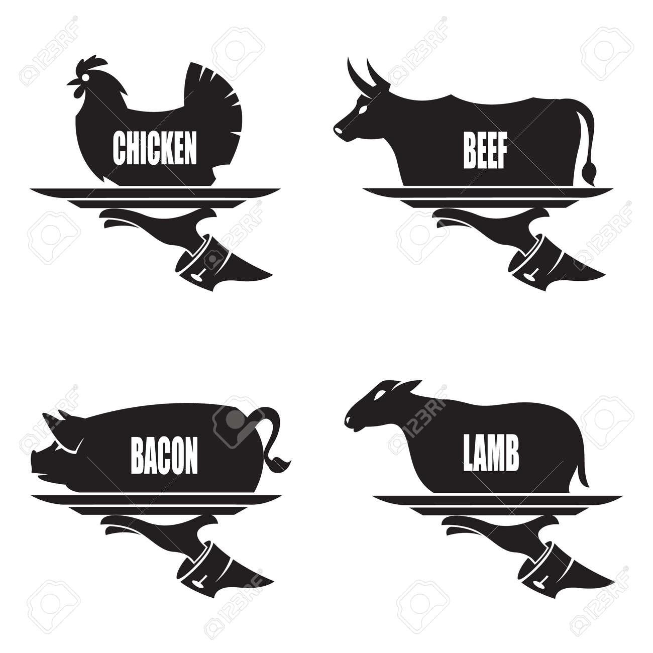 農場の動物での手でトレイの白黒イラスト ロイヤリティフリークリップ
