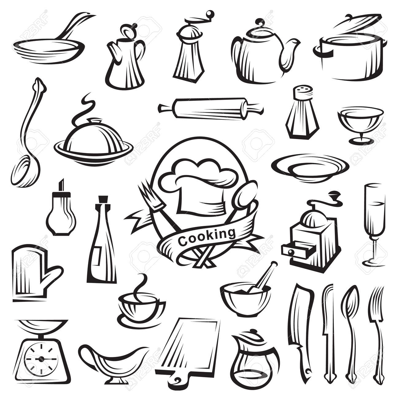 Kitchen Tools Drawing Kitchen Tools And Cooking Design Elements Royalty Free Cliparts