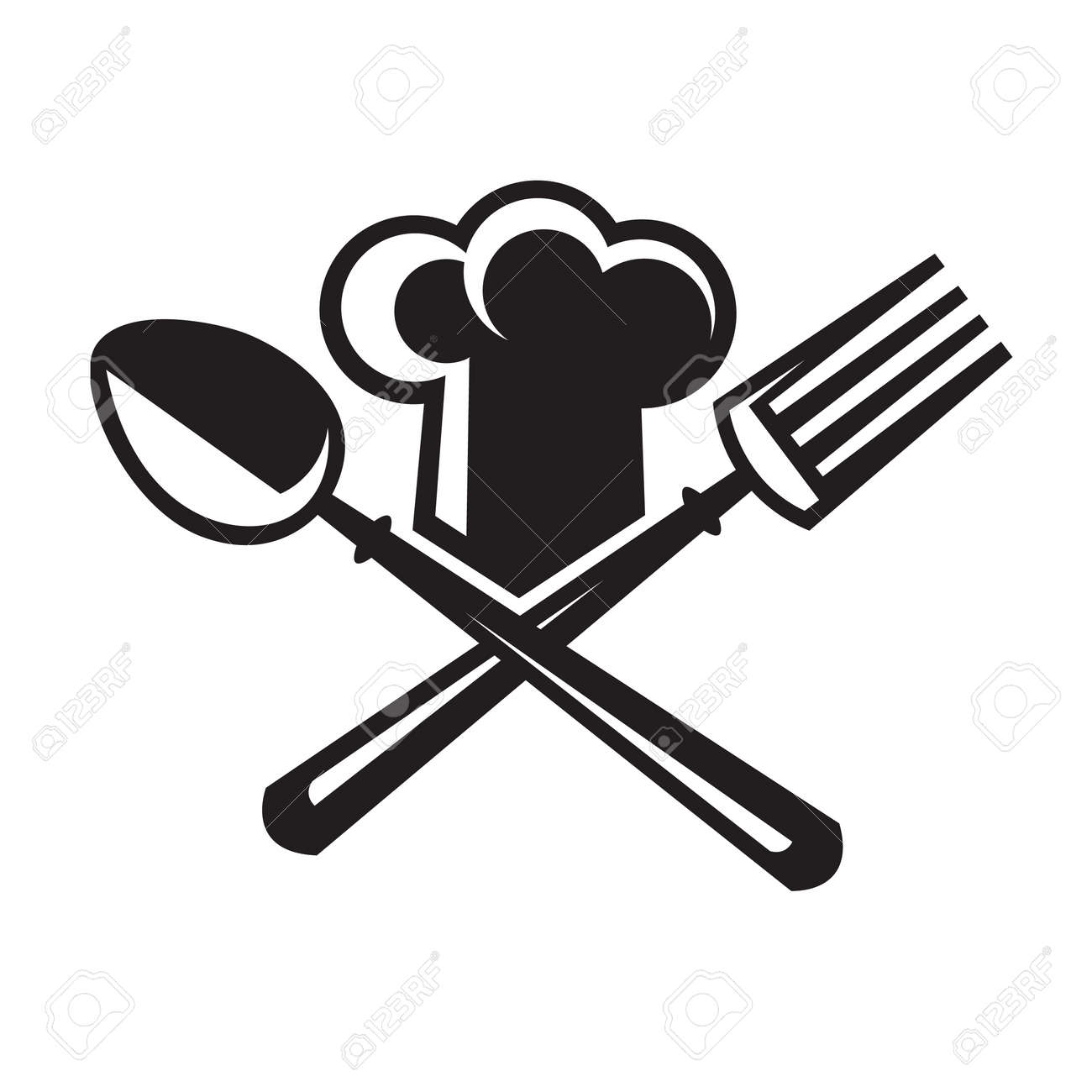 Monochre Image Of Chef Hat With Spoon And Fork Royalty Free ...