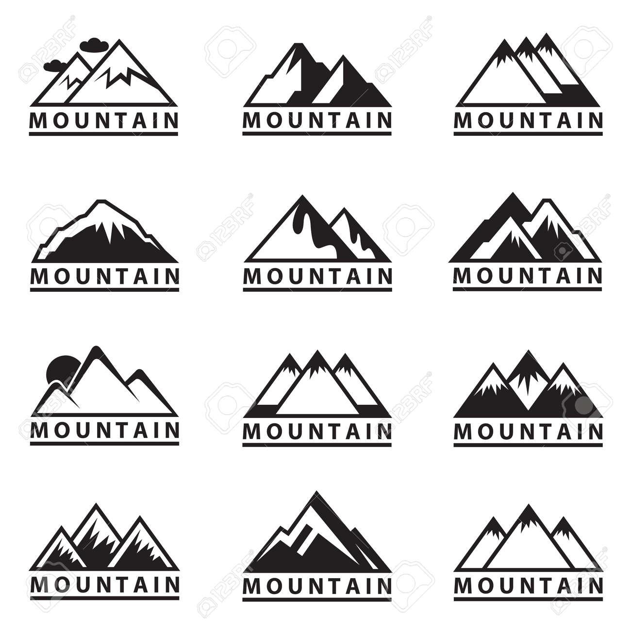 モノクロ 12 山アイコンの設定のイラスト素材ベクタ Image 39235551