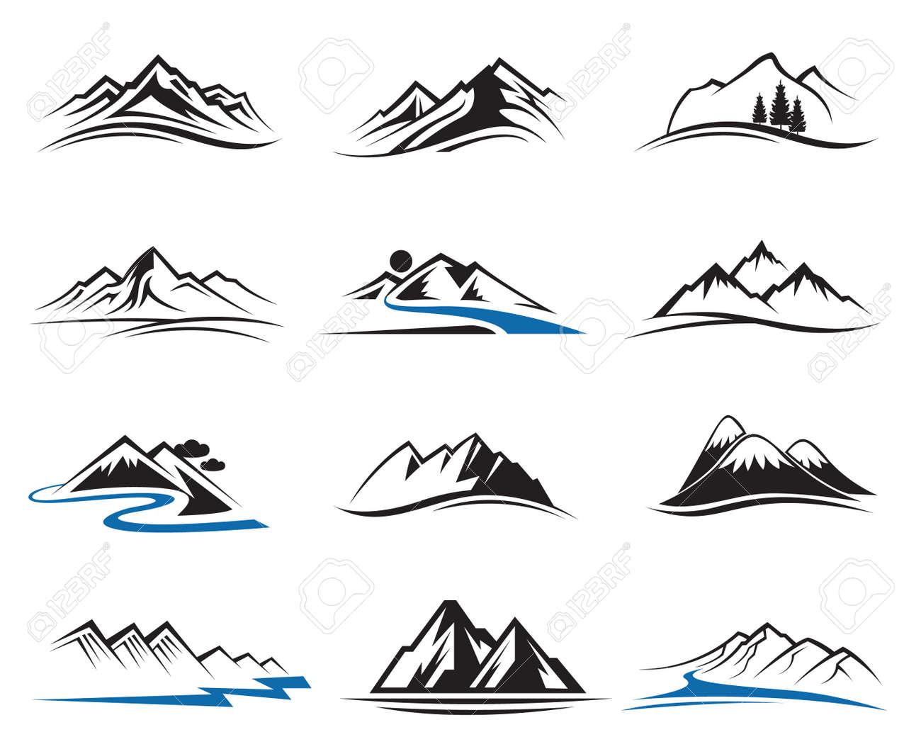 set of twelve mountain icons - 39269206