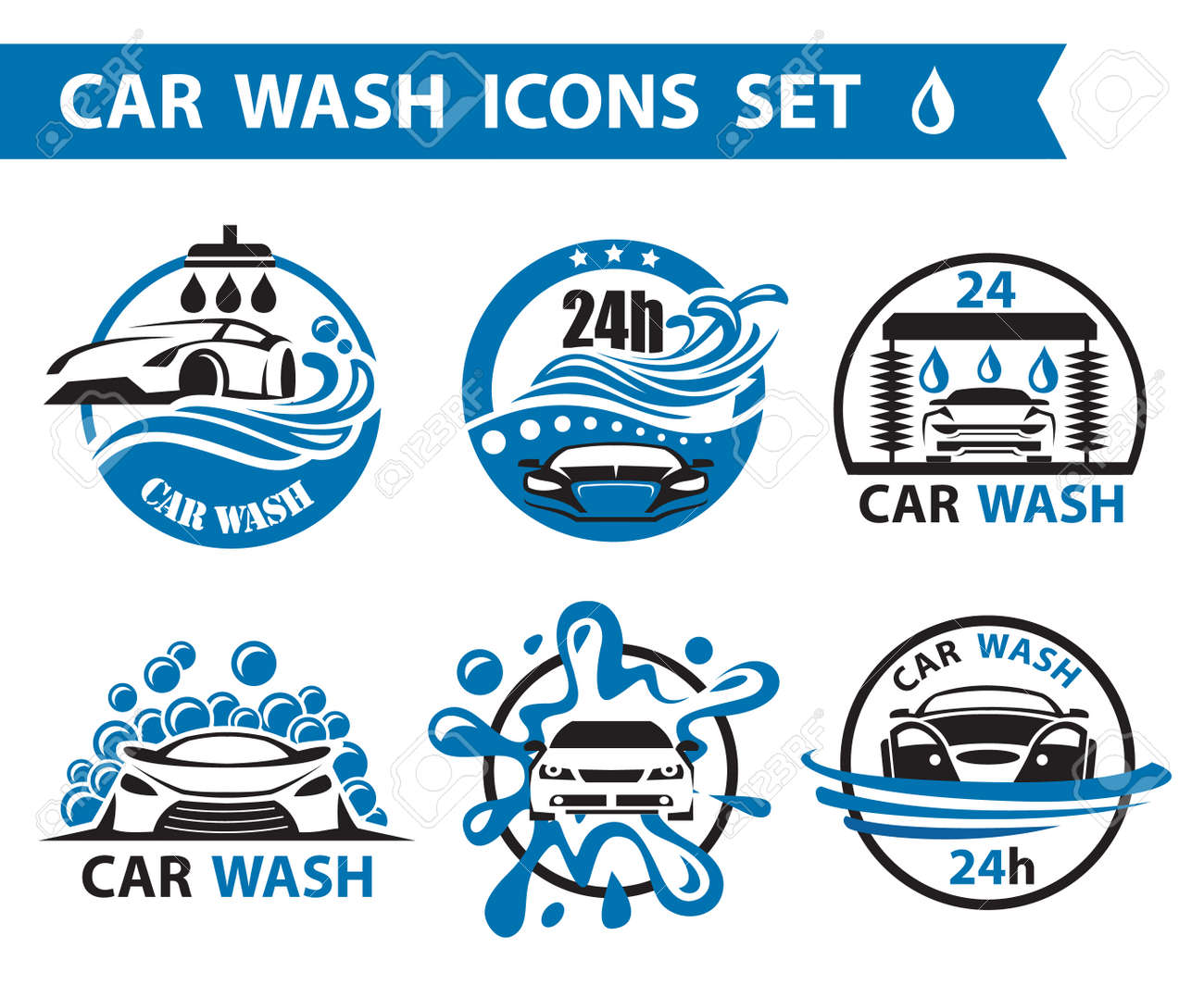 set of six car wash icons Stock Vector - 40696468