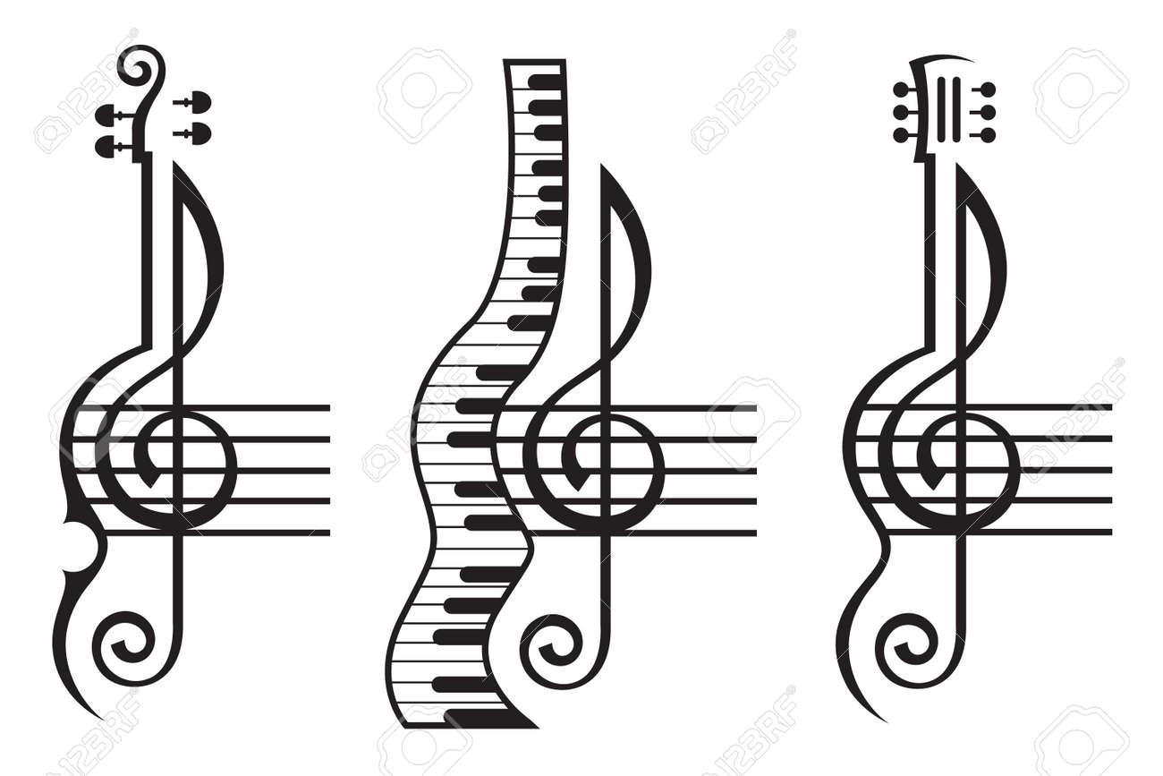 Ilustración Blanco Y Negro Del Violín La Guitarra El Piano Y La Clave De Sol