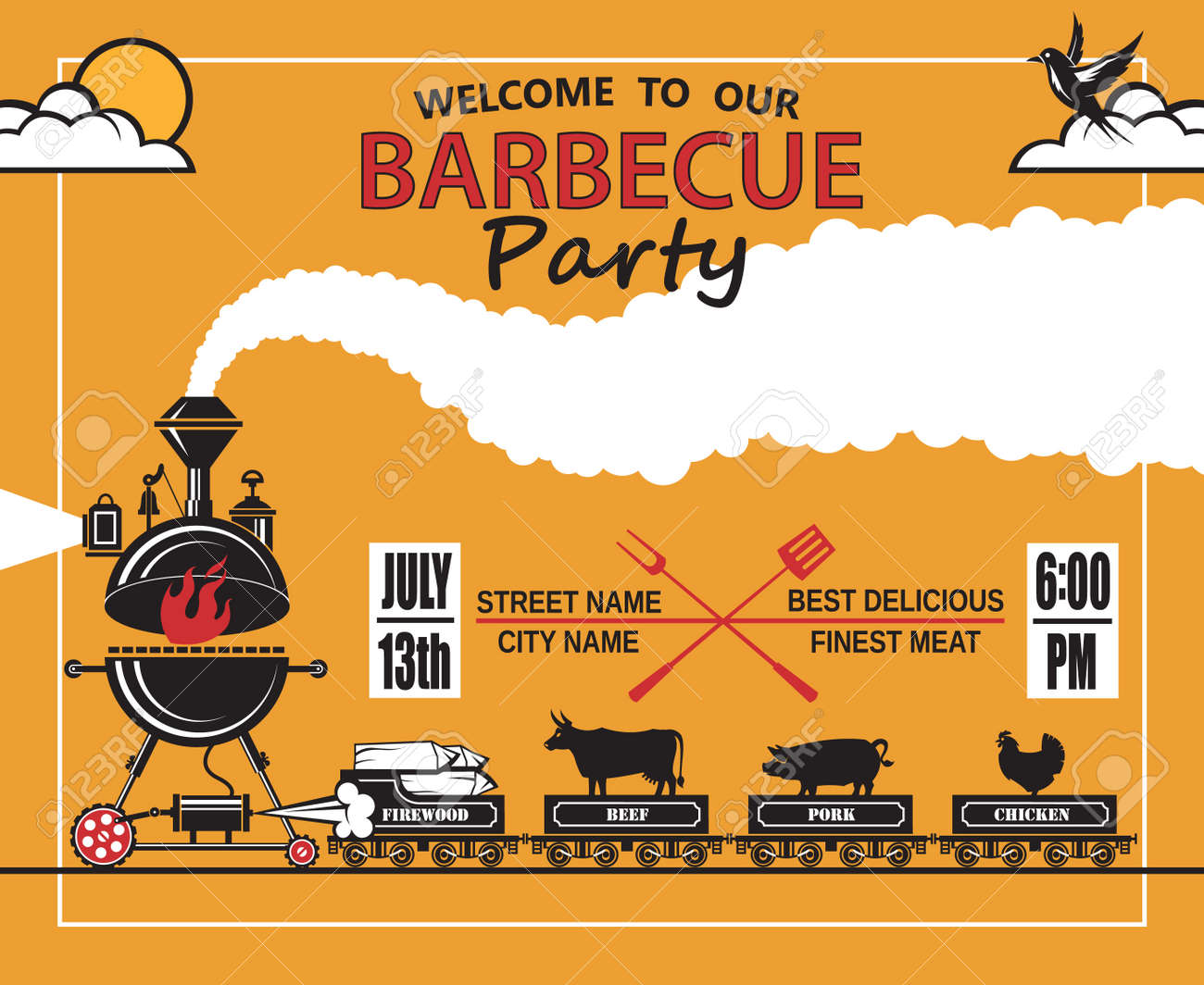 Diseño De Tarjeta De Invitación De Partido De La Barbacoa