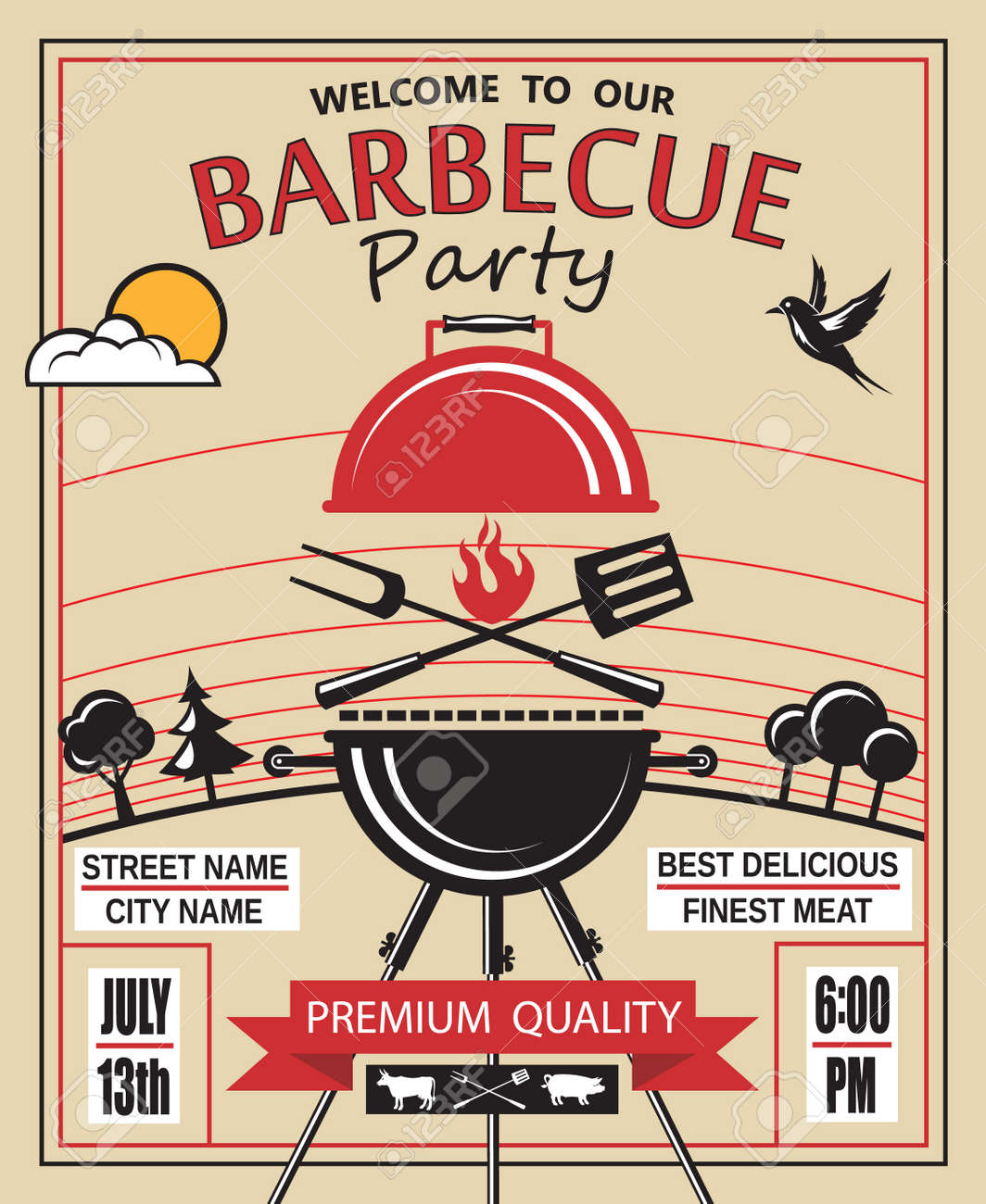 design of invitation card on barbecue party - 43623375