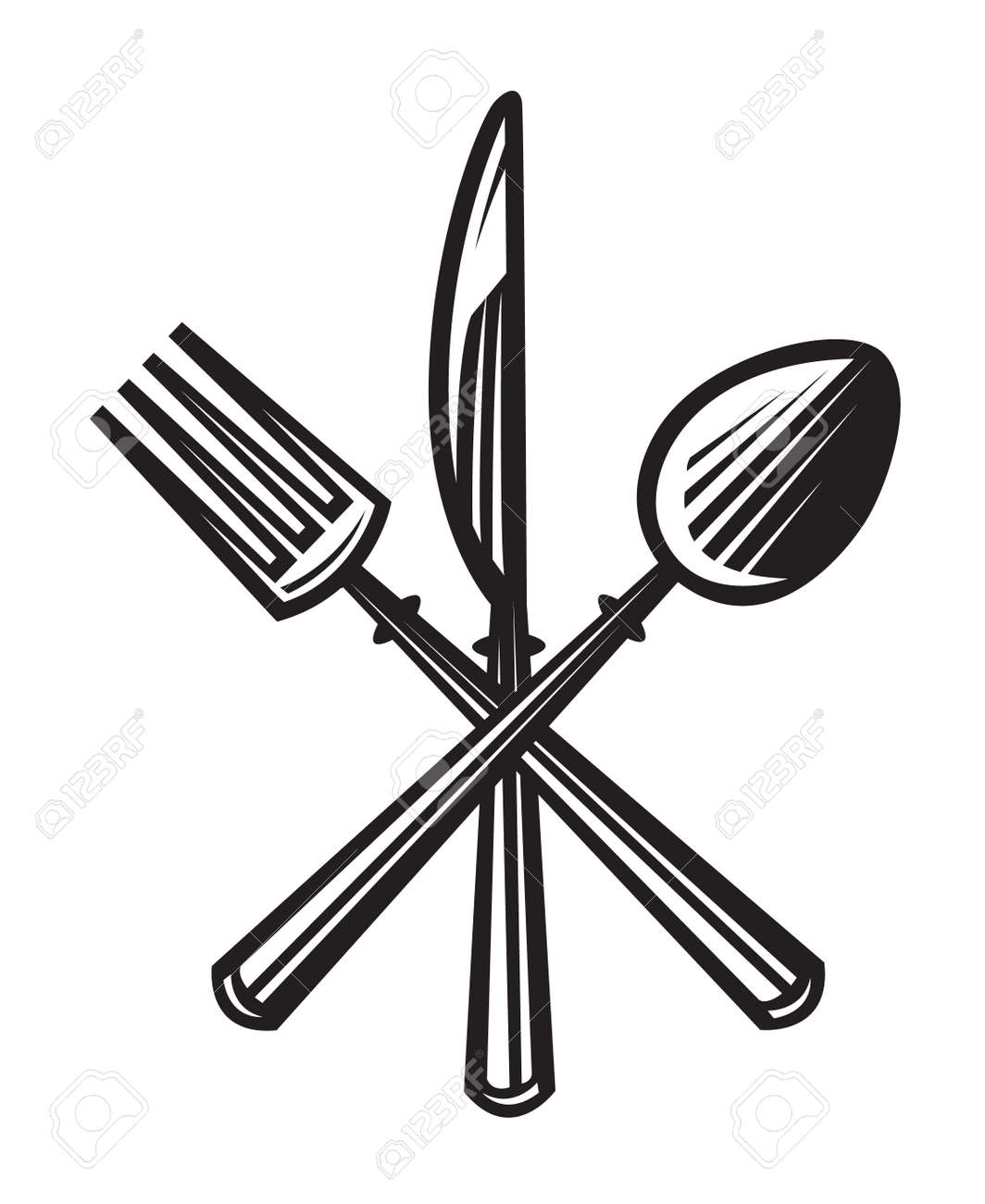 monochrome illustrations set of knife, fork and spoon - 43889181