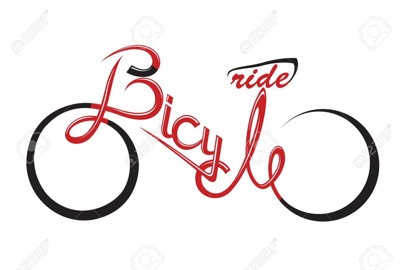 abstract bicycle illustration with form the text - 45888046