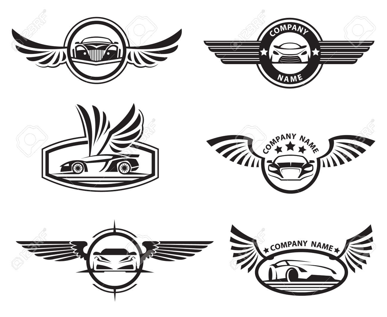 Transport logo stock photos pictures royalty free transport collection of six monochrome car labels with wings illustration biocorpaavc