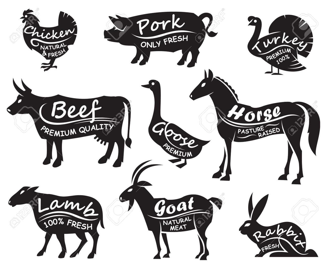 monochrome illustration of nine farm animals - 48326334