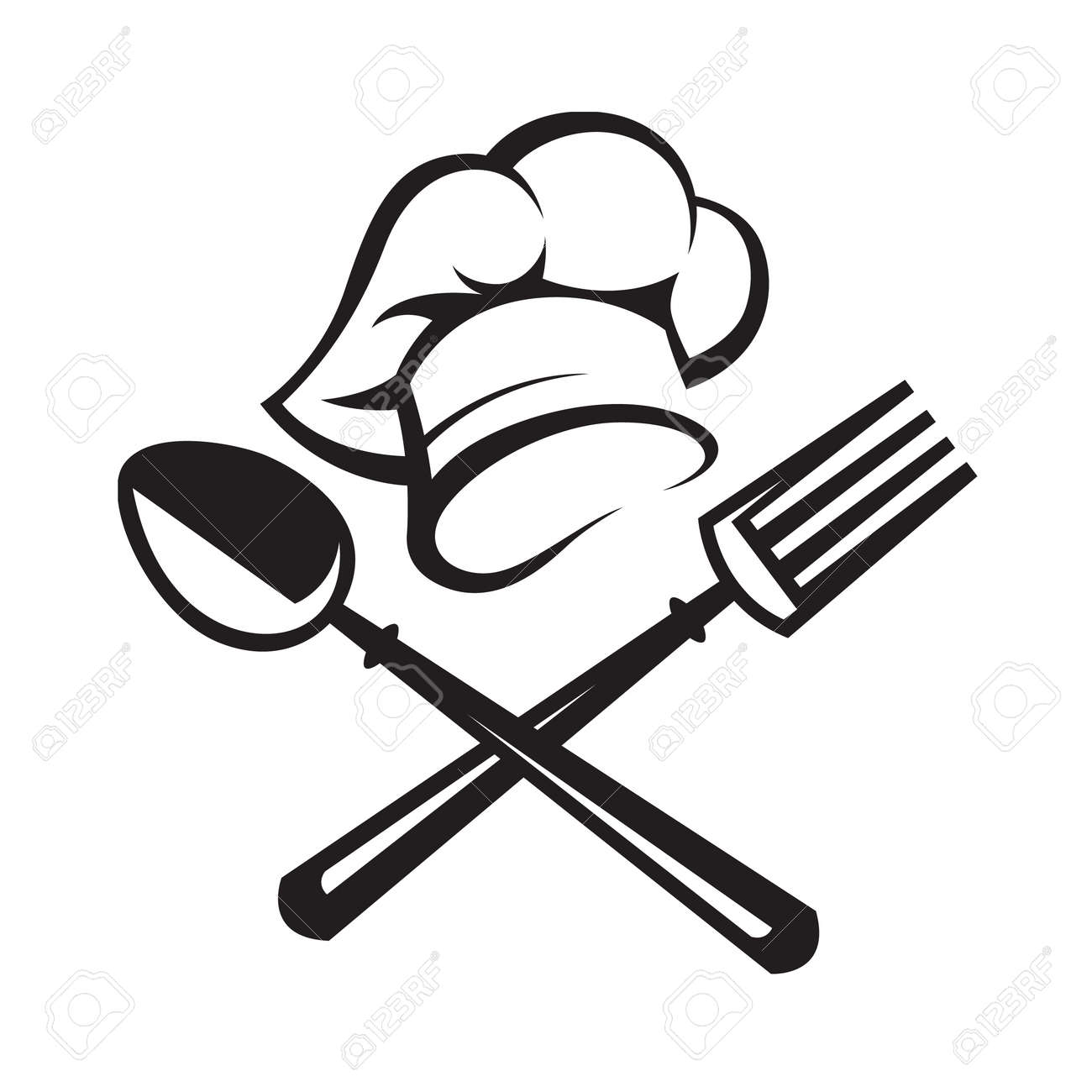 Black Illustration Of Spoon, Fork And Chef Hat Royalty Free Cliparts