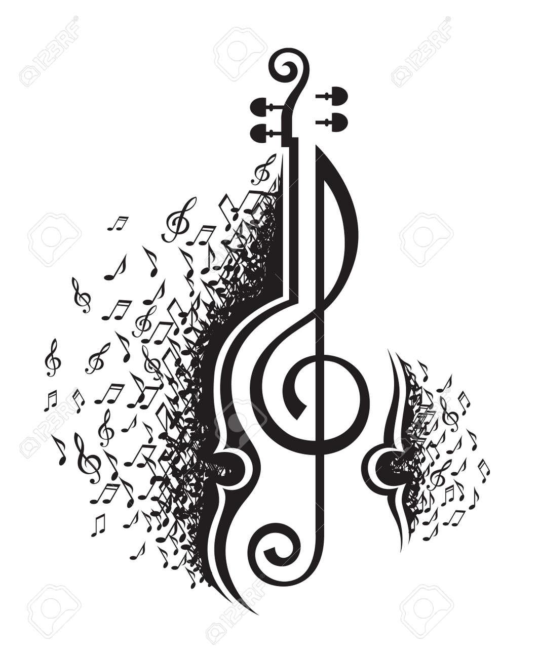 音符とヴァイオリンの白黒イラストのイラスト素材ベクタ Image 48917376