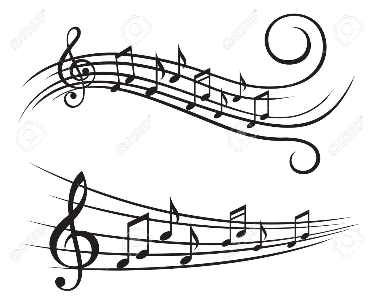 ステーブの音符の白黒イラストのイラスト素材ベクタ Image 48635183