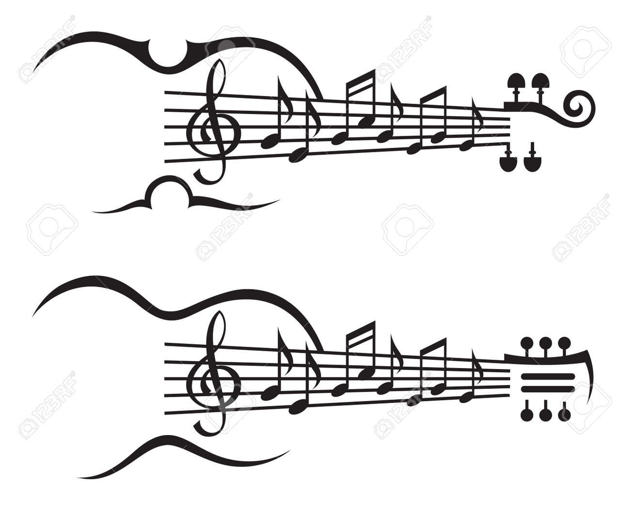 monochrome illustration of music notes on stave - 48709245