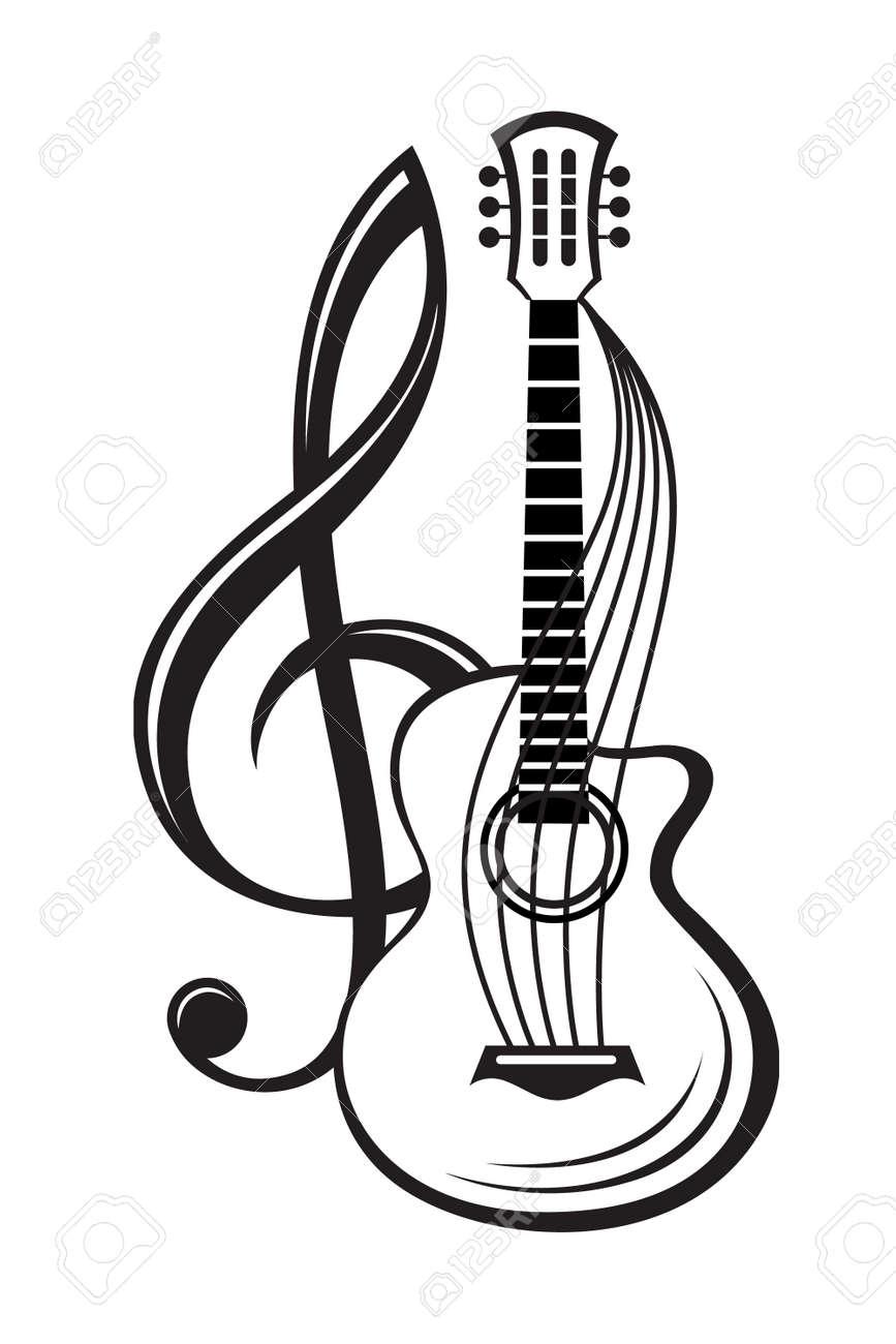 Ilustración En Blanco Y Negro De La Clave De Sol Y La Guitarra