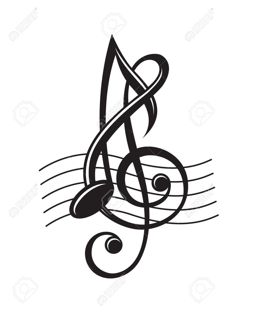 ステーブの音符の白黒イラストのイラスト素材ベクタ Image 49162005