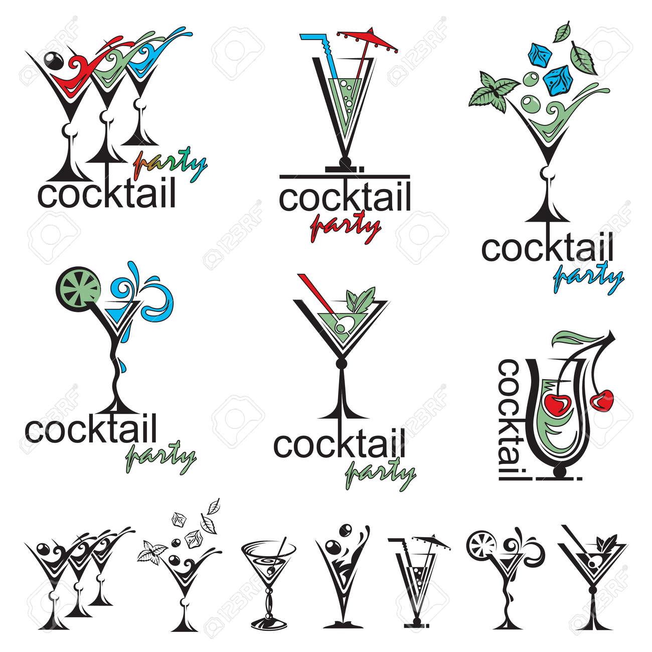 set of different color cocktail glasses - 49574116