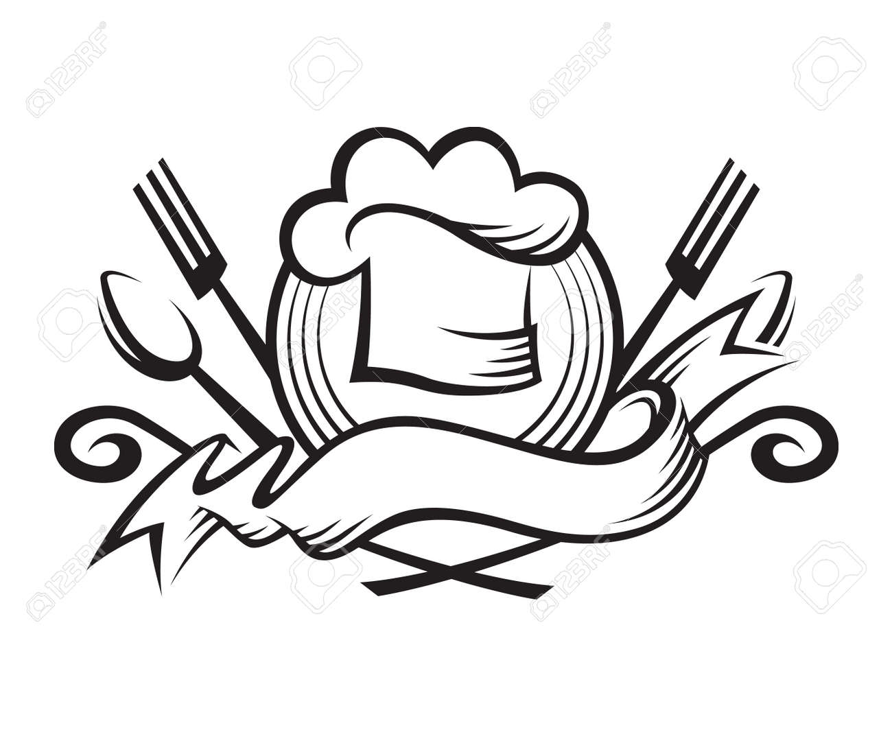 monochrome illustration of a chef hat with spoon, fork and ribbon - 50096921