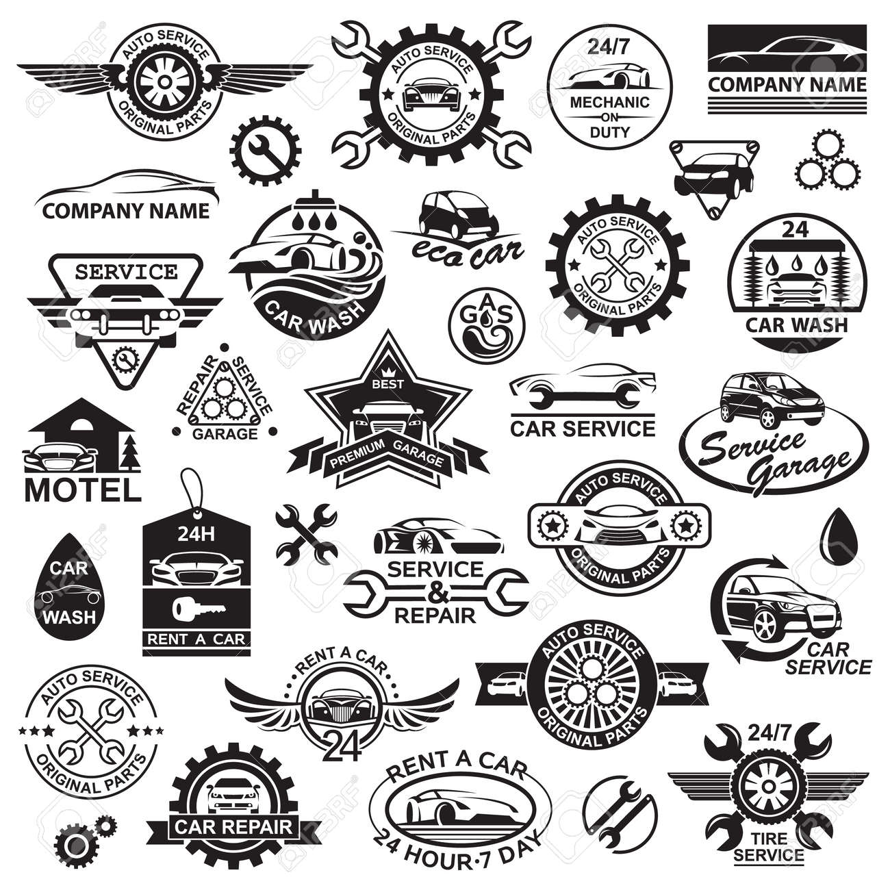 monochrome illustration of various car icons - 51561761