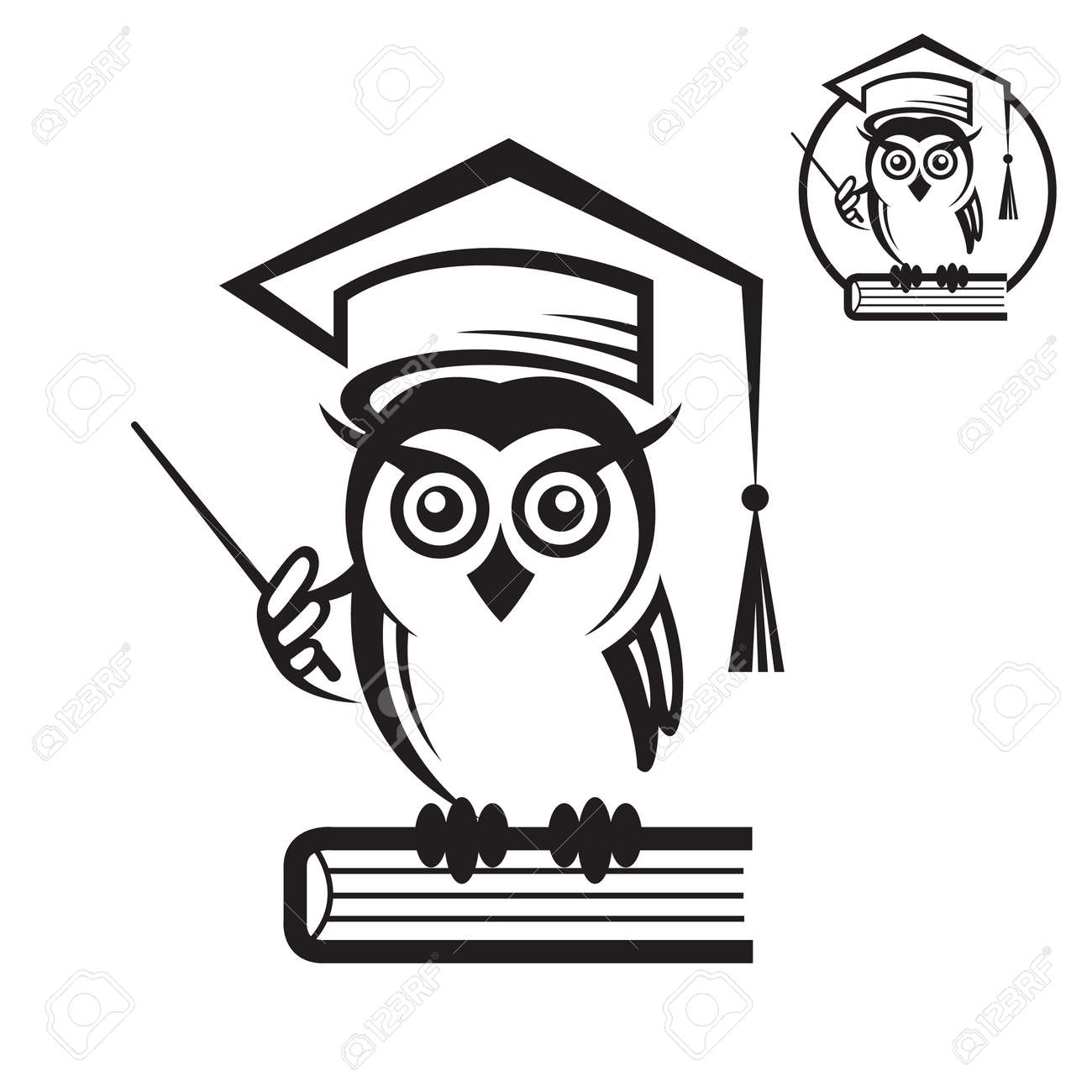 Icon Of School Owl With Book And Graduation Cap Stock Vector