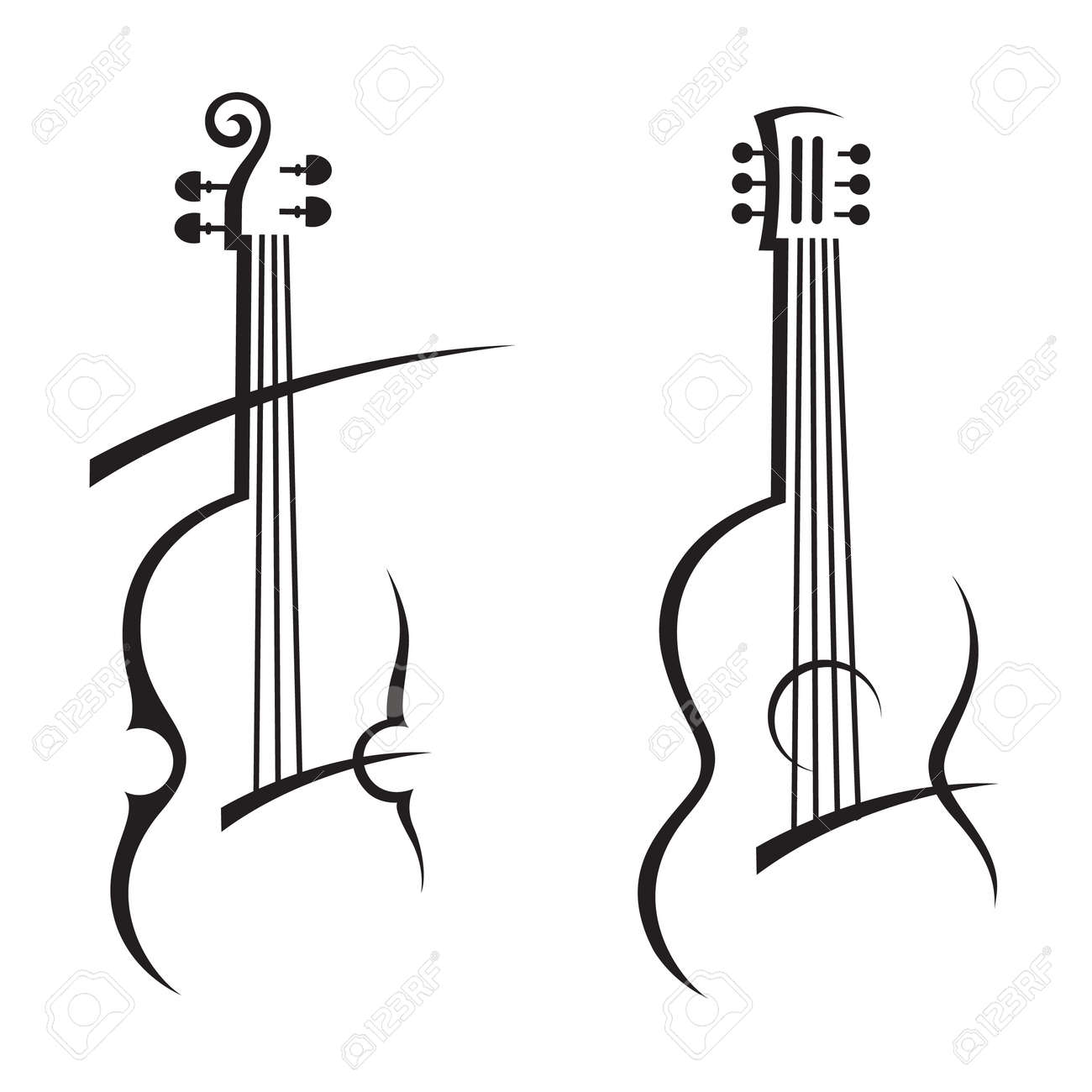 abstract illustration of violin and guitar - 53988824