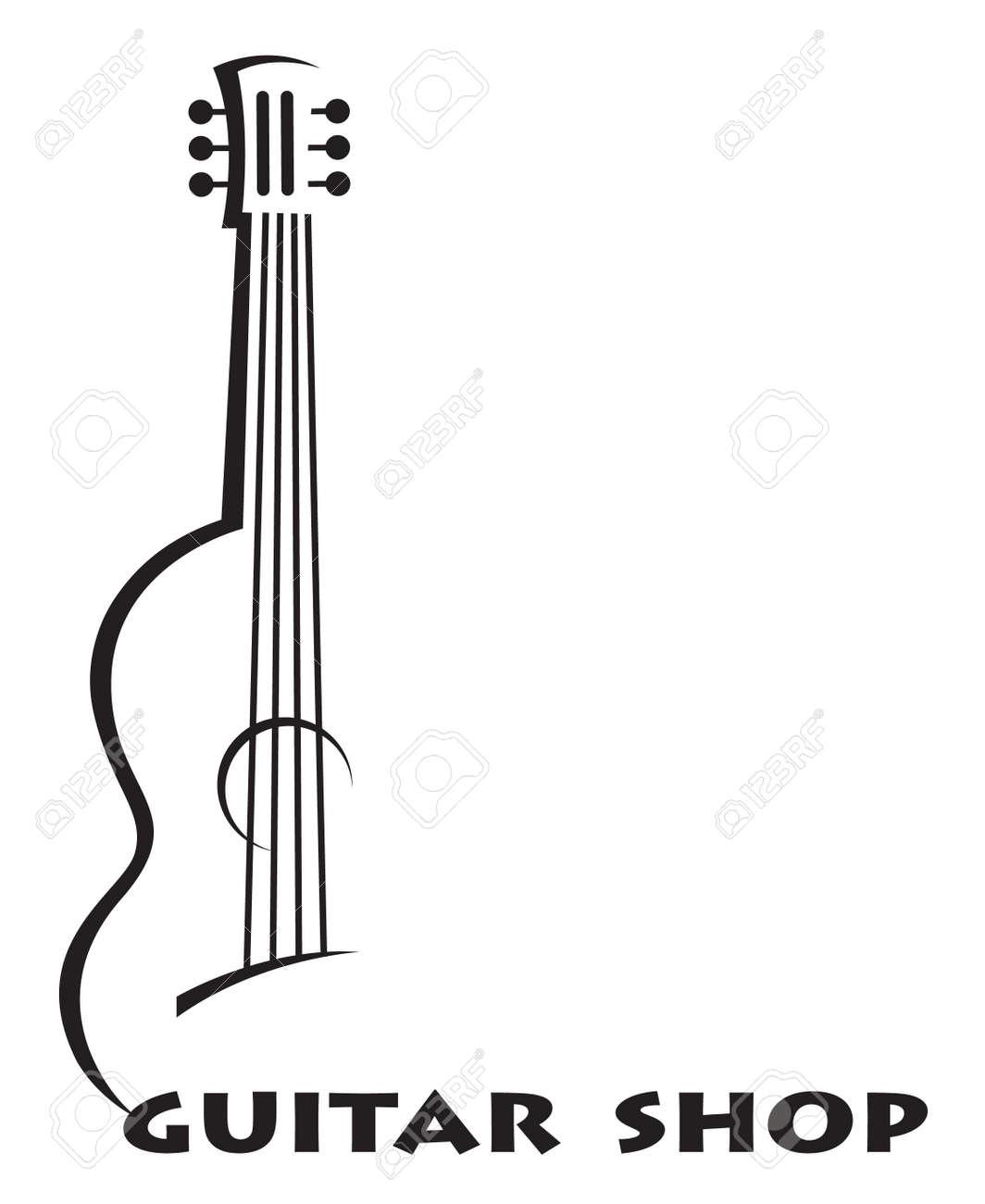 テキストとギターのモノクロ ポスター ロイヤリティフリークリップアート