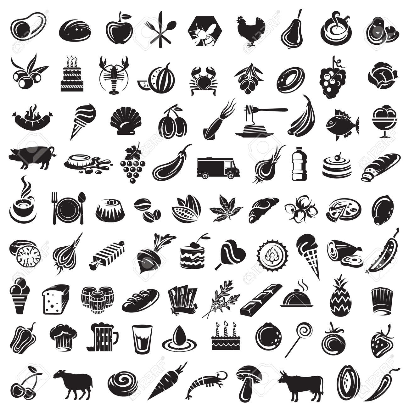 collection of food icons and elements - 62196778