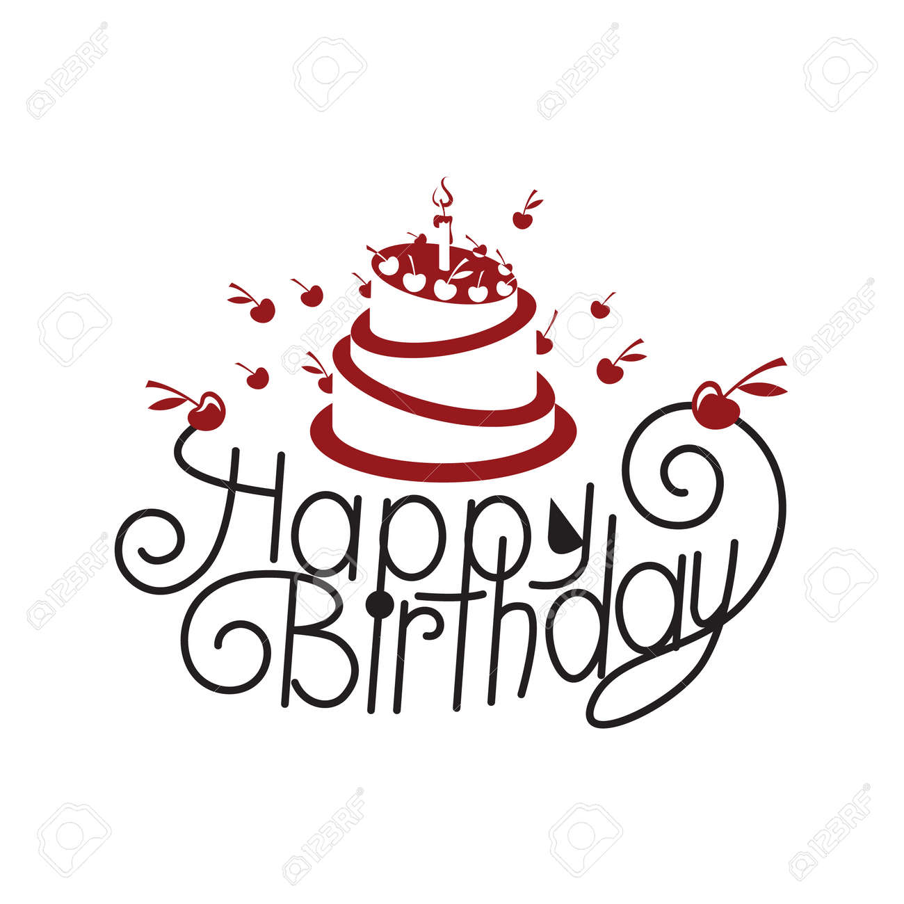 Happy Birthday Card Design With Cake Royalty Free Cliparts Vectors