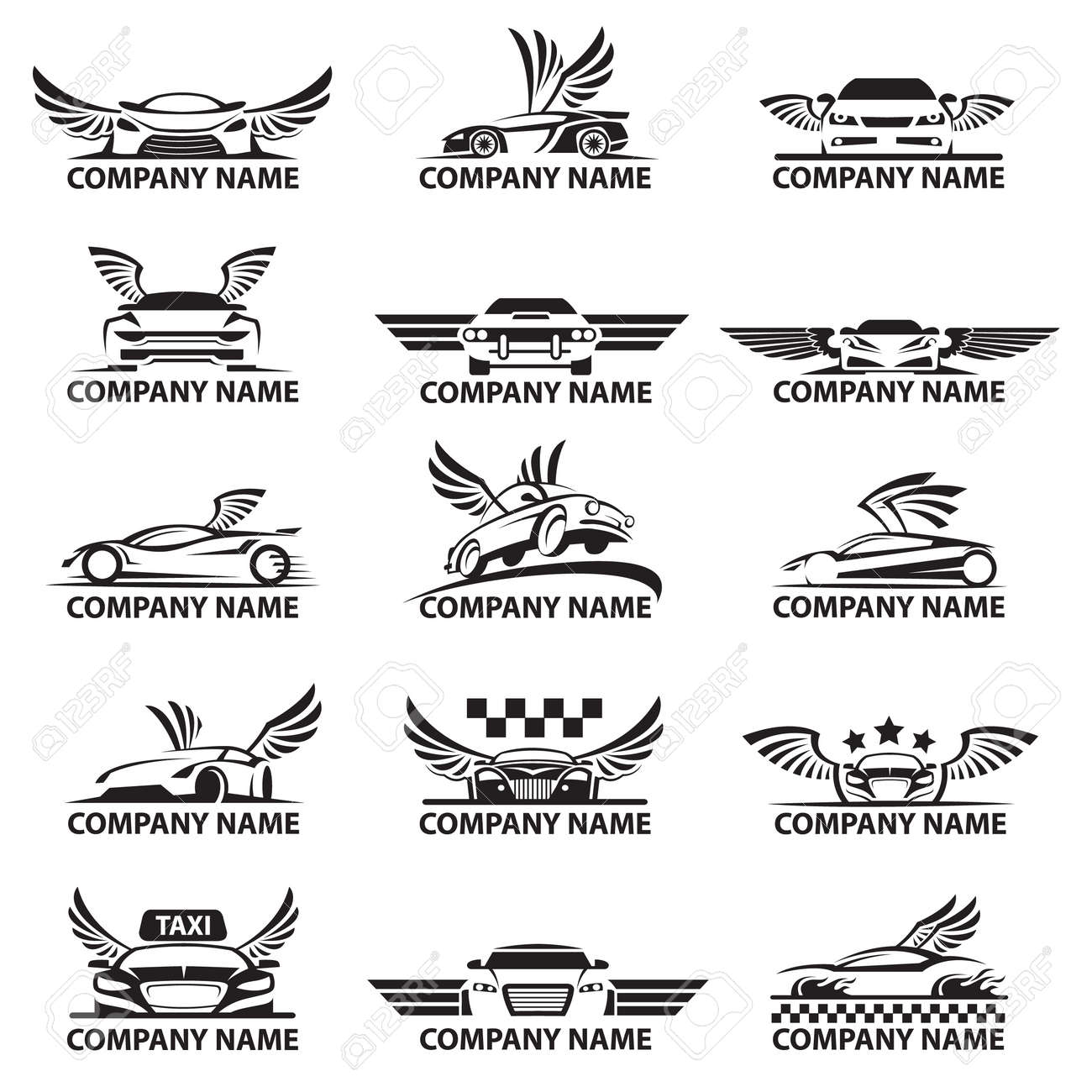 collection of car logos with wings - 66090530