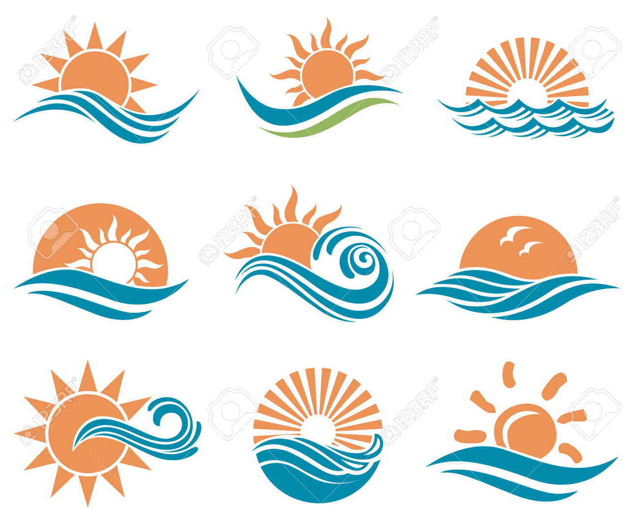 abstract collection of sun and sea icons - 69113328